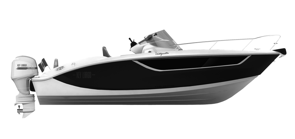 KEY LARGO 24 FUORIBORDO - OUTBOARD LINE BLACK (gelcoat)